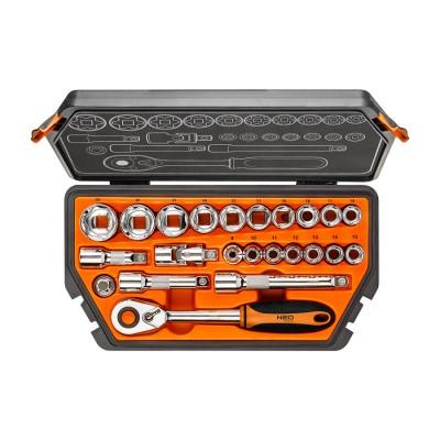 NEO Heavy Duty Drive Metric Socket Wrench Set 1/2